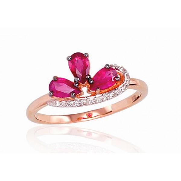 """Zelta gredzens ar briljantiem """"Impērijas Kronis II"""" no 585 proves sarkanā zelta"""