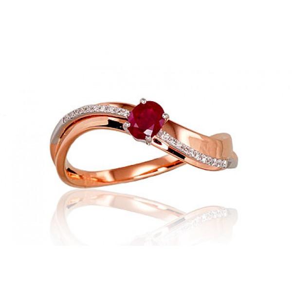 """Zelta gredzens ar briljantiem """"Ērika"""" no 585 proves sarkanā zelta"""