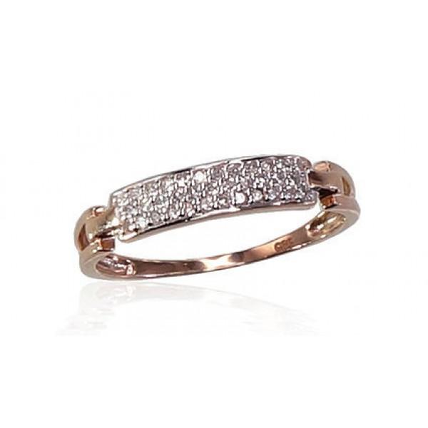 """Zelta gredzens ar briljantiem """"Džoanna IV"""" no 585 proves sarkanā zelta"""