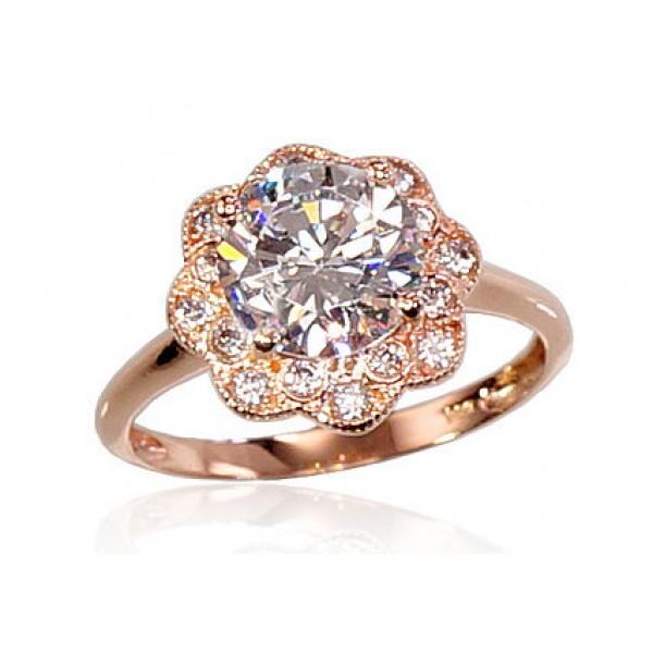 """Zelta gredzens """"Kristāla Zieds II"""" no 585 proves sarkanā zelta"""