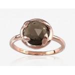 """Zelta gredzens ar dūmakaino kvarcu """"Diana II"""" no 585 proves sarkanā zelta"""