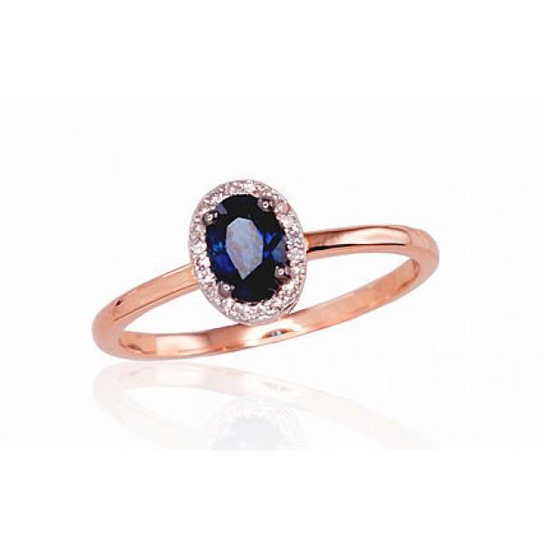 """Zelta gredzens ar briljantiem """"Izsmālcinātība"""" no 585 proves sarkanā zelta"""