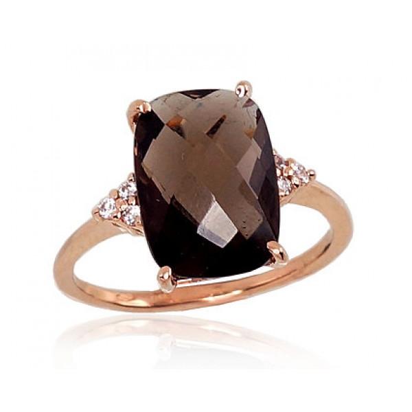 "Zelta gredzens ar dūmakaino kvarcu ""Adamas"" no 585 proves sarkanā zelta"