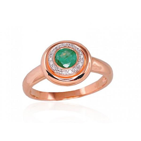 "Zelta gredzens ar briljantiem ""Smaragda Gaisma"" no 585 proves sarkanā zelta"