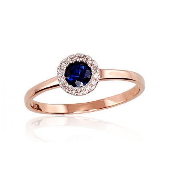 """Zelta gredzens ar briljantiem """"Burvība IV"""" no 585 proves sarkanā zelta"""