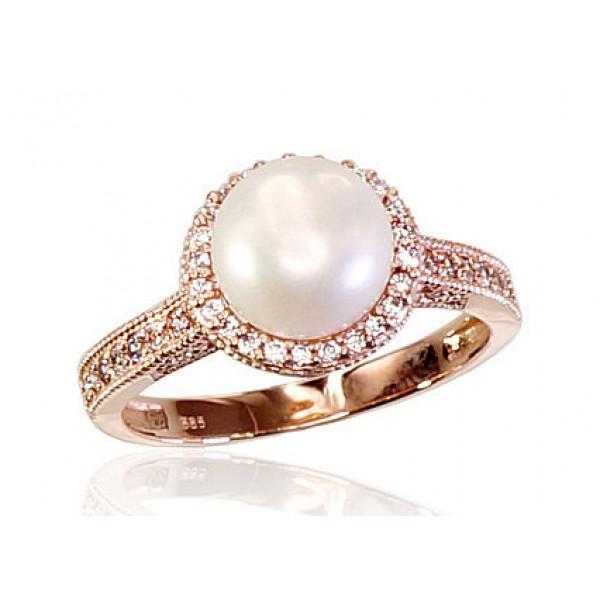 """Zelta gredzens ar pērlēm """"Dvēseles Spogulis II"""" no 585 proves sarkanā zelta"""