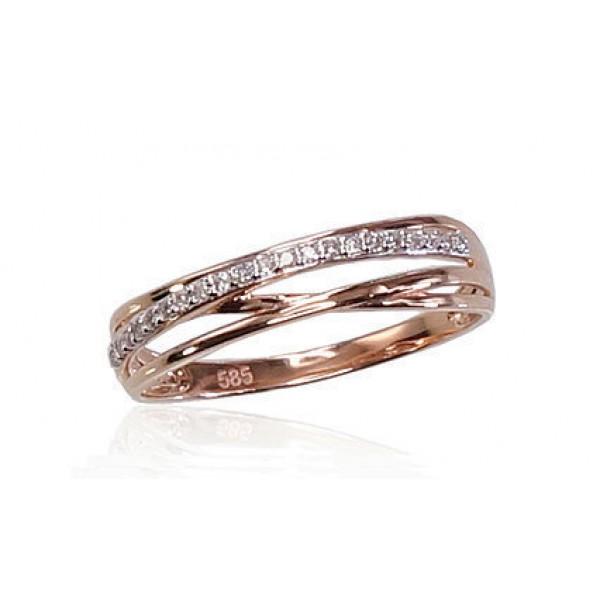 """Zelta gredzens ar briljantiem """"Zelta Raksts VIII"""" no 585 proves sarkanā zelta"""