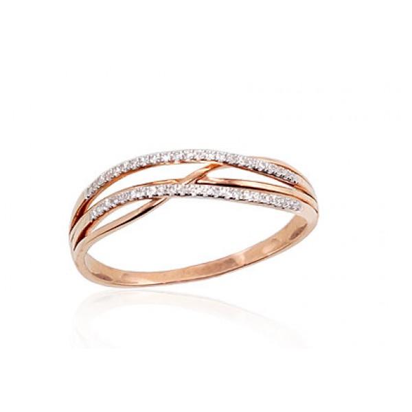 "Zelta gredzens ar briljantiem ""Zelta Vilnis VIII"" no 585 proves sarkanā zelta"