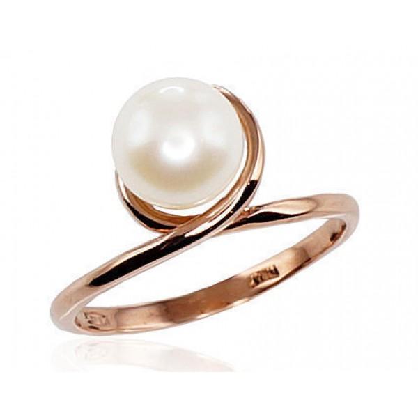 "Zelta gredzens ar pērlēm ""Galoss VII"" no 585 proves sarkanā zelta"