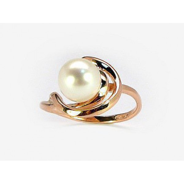 "Zelta gredzens ar pērlēm ""Galoss XVIII"" no 585 proves sarkanā zelta"