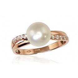 "Zelta gredzens ar pērlēm ""Dvēseles Spogulis VII"" no 585 proves sarkanā zelta"