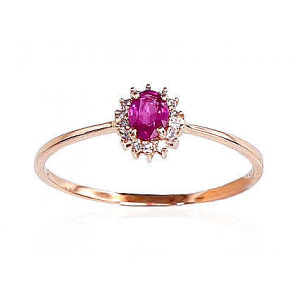 "Zelta gredzens ar briljantiem ""Ferro VII"" no 585 proves sarkanā zelta"