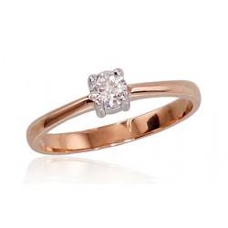 "Zelta gredzens ar briljantiem ""Solitire IV"" no 585 proves sarkanā zelta"
