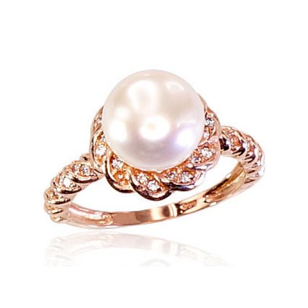 """Zelta gredzens ar pērlēm """"Dvēseles Spogulis"""" no 585 proves sarkanā zelta"""