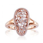 "Zelta gredzens ar briljantiem ""Zelta Zirnekļtīkls"" no 585 proves sarkanā zelta"