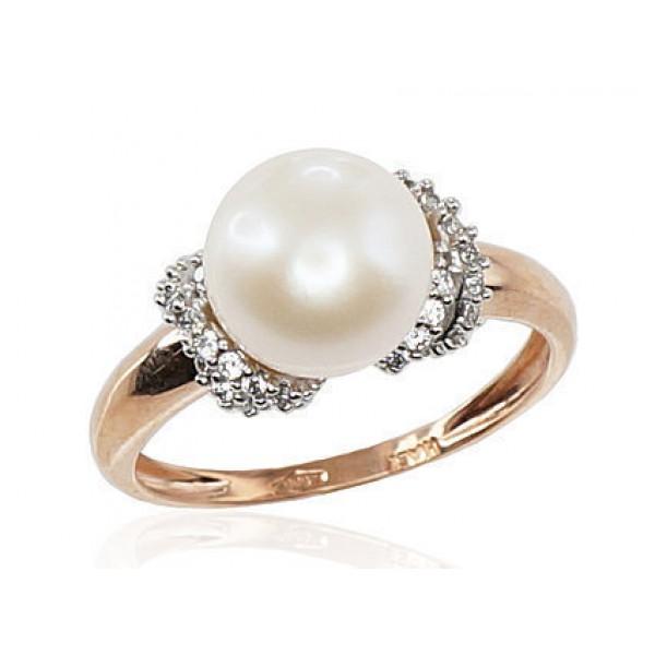 "Zelta gredzens ar pērlēm ""Dvēseles Spogulis III"" no 585 proves sarkanā zelta"