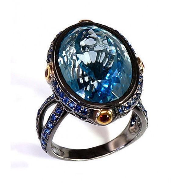 "Sudraba gredzens ar topāzu ""Karaliskais Topāzs II"" no 925 proves sudraba"