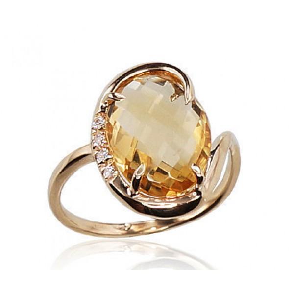"Zelta gredzens ar citrīnu ""Palermo"" no 585 proves dzeltenā zelta"
