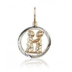 """Zelta kulons - zodiaka zīme """"Dvīņi"""" no 585 proves sarkanā zelta"""