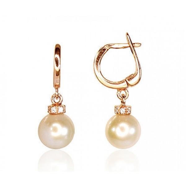 """Zelta auskari ar pērles """"Pērļu Spožums"""" no 585 proves sarkanā zelta"""
