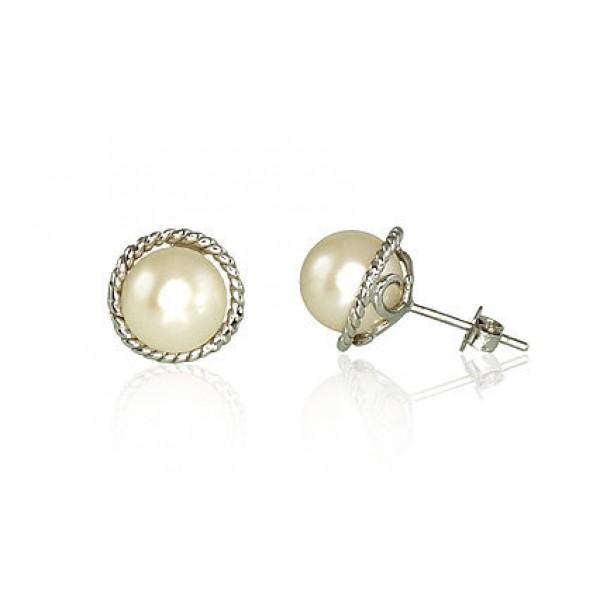 """Zelta auskari ar pērlēm """"Dvēseles Spogulis"""" no 585 proves baltā zelta"""