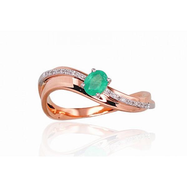 """Zelta gredzens ar briljantiem """"Ērika II"""" no 585 proves sarkanā zelta"""
