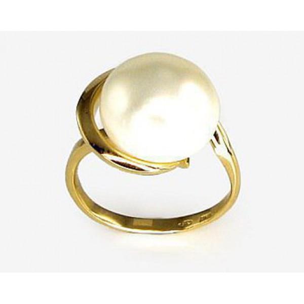 "Zelta gredzens ar pērlēm ""Galoss XV"" no 585 proves dzeltenā zelta"