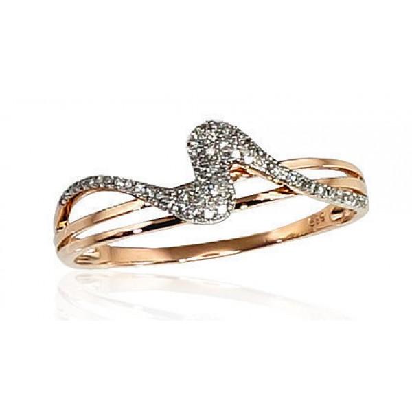 """Zelta gredzens ar briljantiem """"Jūras Vilnis II"""" no 585 proves sarkanā zelta"""