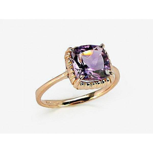 """Zelta gredzens ar ametistu """"Sicīlija"""" no 585 proves sarkanā zelta"""
