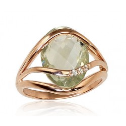 "Zelta gredzens ar ametistu ""Parīze"" no 585 proves sarkanā zelta"