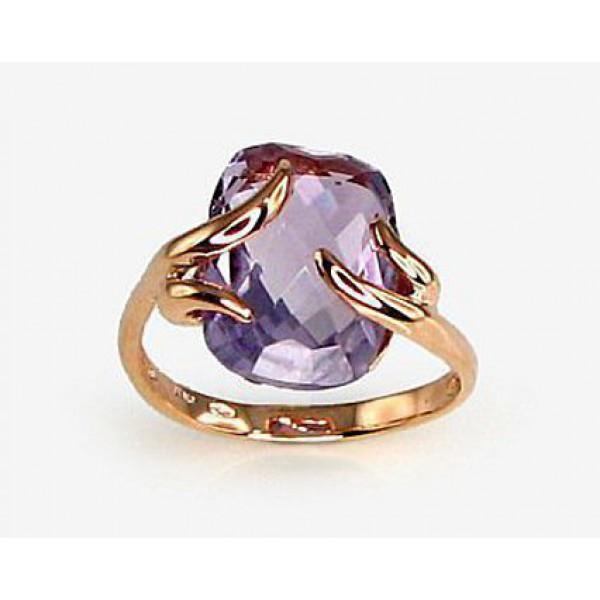 "Zelta gredzens ar ametistu ""Īsta Mīlestība II"" no 585 proves sarkanā zelta"