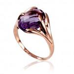 "Zelta gredzens ar ametistu ""Īsta Mīlestība"" no 585 proves sarkanā zelta"