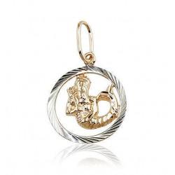 """Zelta kulons - zodiaka zīme """"Ūdensvīrs II"""" no 585 proves sarkanā zelta"""