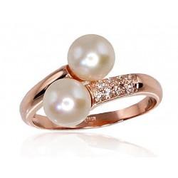 "Zelta gredzens ar pērlēm ""Dvēseles Spogulis VIII"" no 585 proves sarkanā zelta"