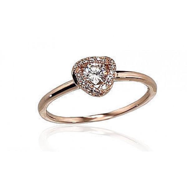 "Zelta gredzens ar briljantiem ""Meža Vijolīte"" no 585 proves sarkanā zelta"