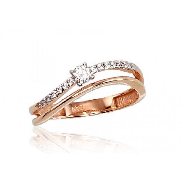 """Zelta gredzens """"Ērika VII"""" no 585 proves sarkanā zelta"""