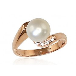 """Zelta gredzens ar pērlēm """"Dvēseles Spogulis V"""" no 585 proves sarkanā zelta"""