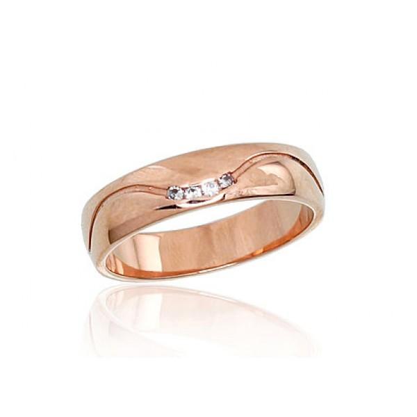"""Zelta laulības gredzens """"Harmonija VI"""" no 585 proves sarkanā zelta"""