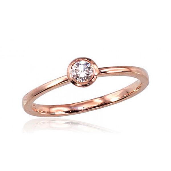 """Zelta gredzens ar briljantiem """"Solitire V"""" no 585 proves sarkanā zelta"""