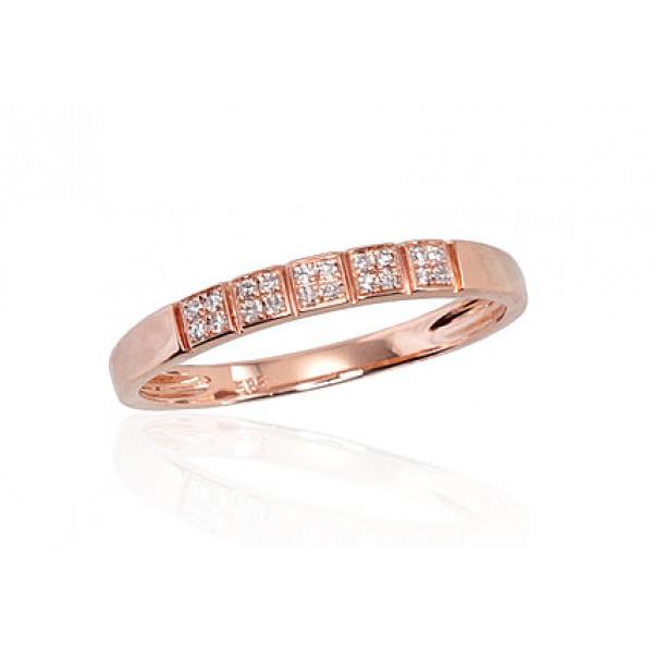 "Zelta gredzens ar briljantiem ""Zelta Mīlestība VI"" no 585 proves sarkanā zelta"