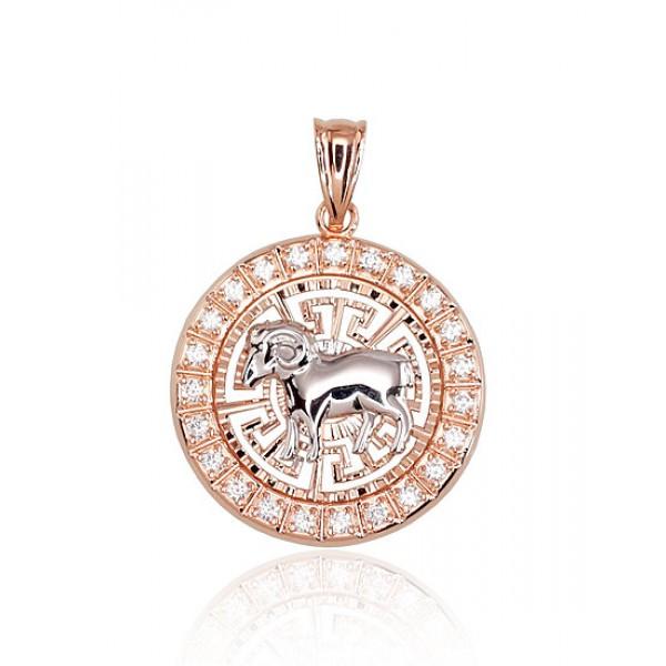 """Zelta kulons - zodiaka zīme """"Auns"""" no 585 proves sarkanā zelta"""