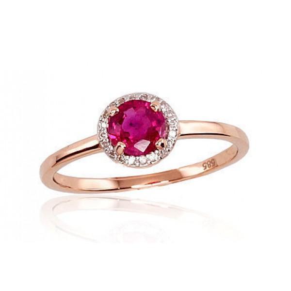 """Zelta gredzens ar briljantiem """"Burvība"""" no 585 proves sarkanā zelta"""