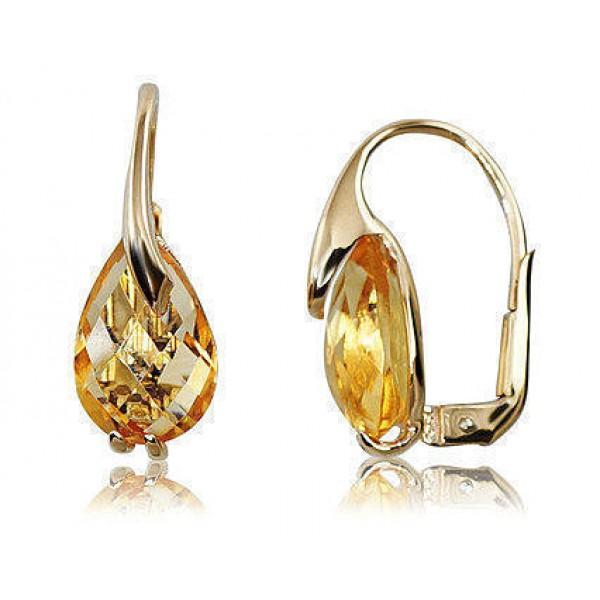 """Zelta auskari ar citrīnu """"Mirdzošais Citrīns"""" no 585 proves dzeltenā zelta"""