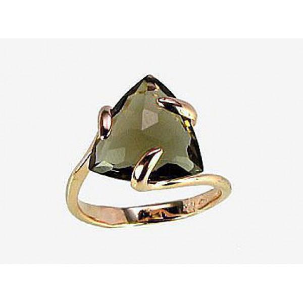 """Zelta gredzens ar dūmakaino kvarcu """"Bermudu Trīsstūris II"""" no 585 proves sarkanā zelta"""